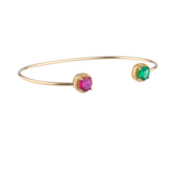Ruby & Emerald Diamond Bangle Round Bracelet 14Kt Yellow Gold Plated Over .925 Sterling Silver