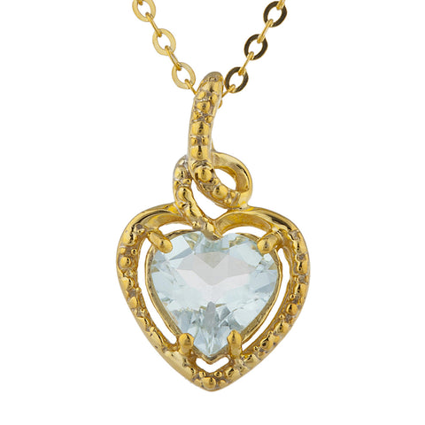 14Kt Gold Genuine Aquamarine Heart Design Pendant Necklace