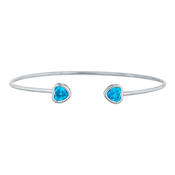 2 Ct Swiss Blue Topaz Heart Bezel Bangle Bracelet .925 Sterling Silver