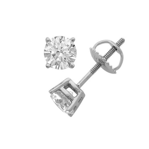 14Kt White Gold 0.10 Ct Genuine Natural Diamond Round Stud Earrings (SI2-SI3)