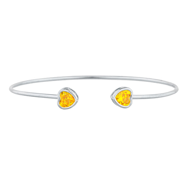2 Ct Yellow Citrine Heart Bezel Bangle Bracelet .925 Sterling Silver