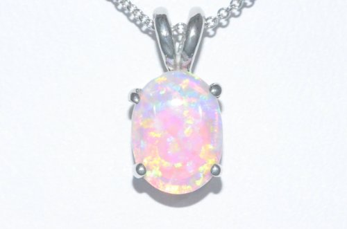 8x6mm Pink Opal Oval Pendant .925 Sterling Silver Rhodium Finish