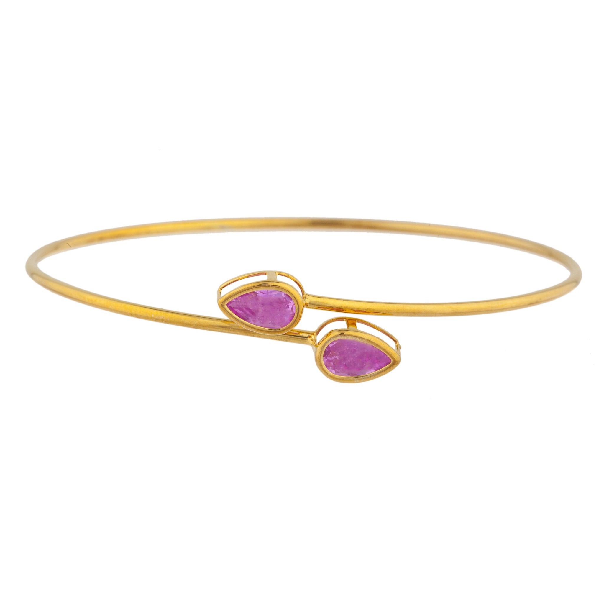 14Kt Yellow Gold Plated Pink Sapphire Pear Bezel Bangle Bracelet