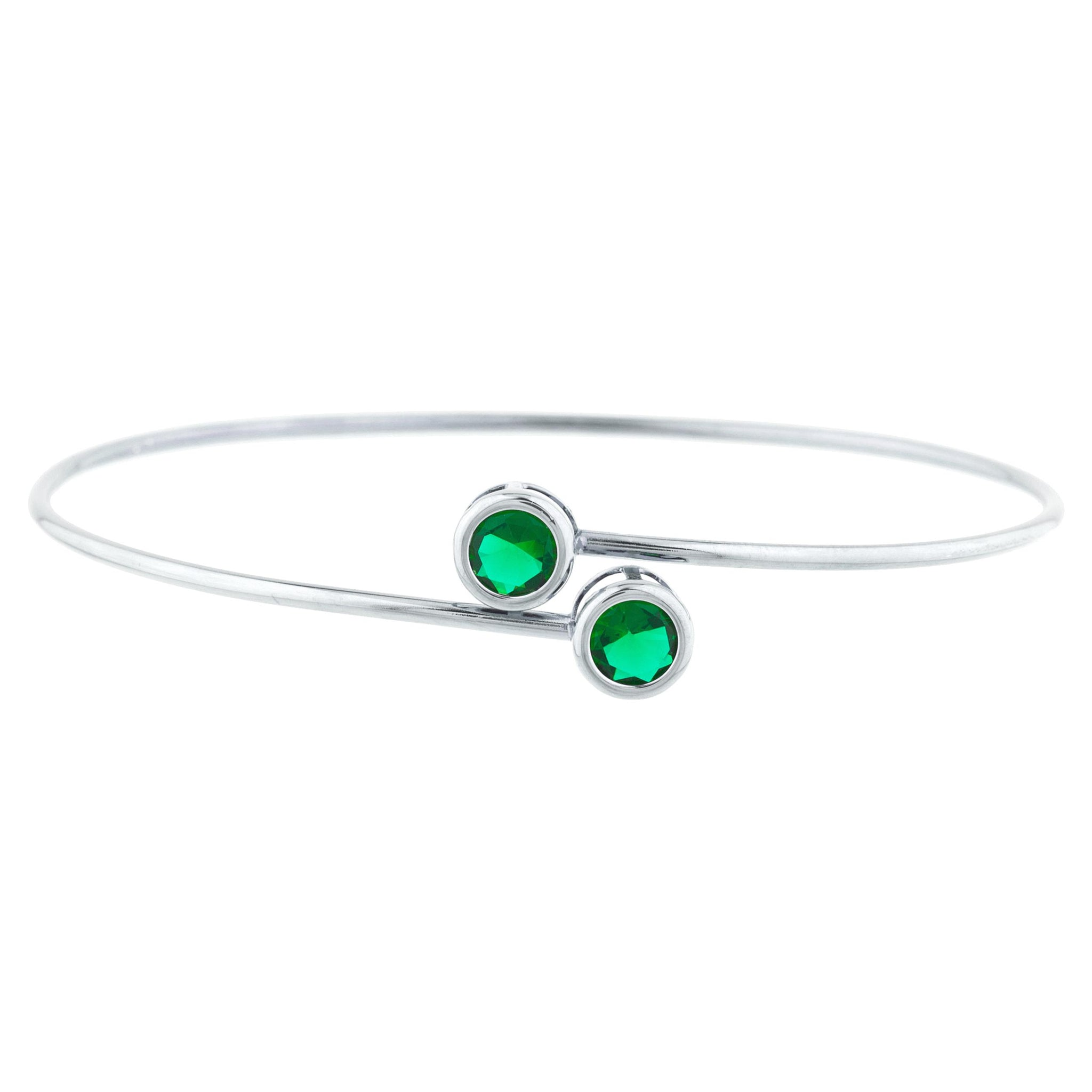 2 Ct Emerald Round Bezel Bangle Bracelet .925 Sterling Silver