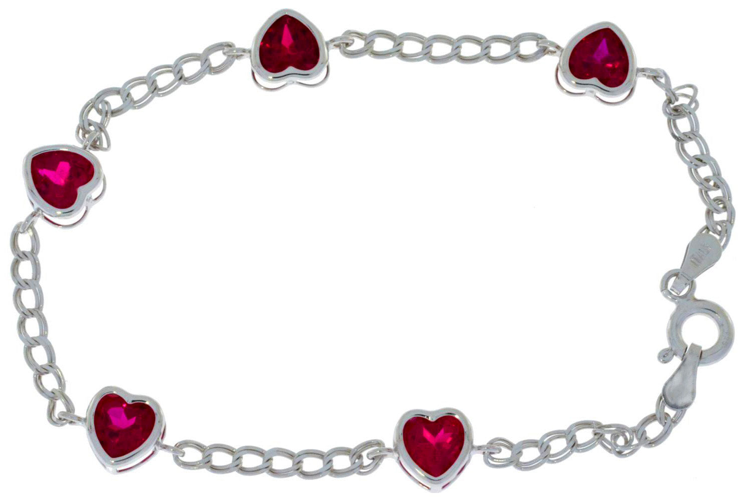 5 Ct Ruby Heart Bezel Bracelet .925 Sterling Silver
