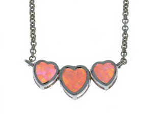 Pink Opal Heart Bezel Pendant .925 Sterling Silver Rhodium Finish