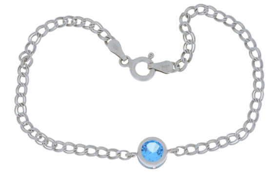 1 Ct Blue Topaz Round Bezel Bracelet .925 Sterling Silver Rhodium Finish
