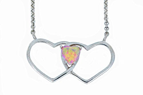 6mm Pink Opal Double Heart Pendant .925 Sterling Silver Rhodium Finish
