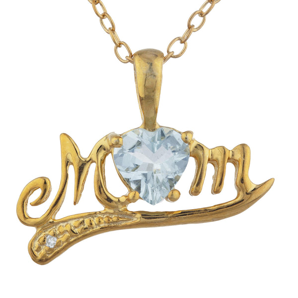 14Kt Yellow Gold Plated Aquamarine & Diamond Heart Mom Pendant