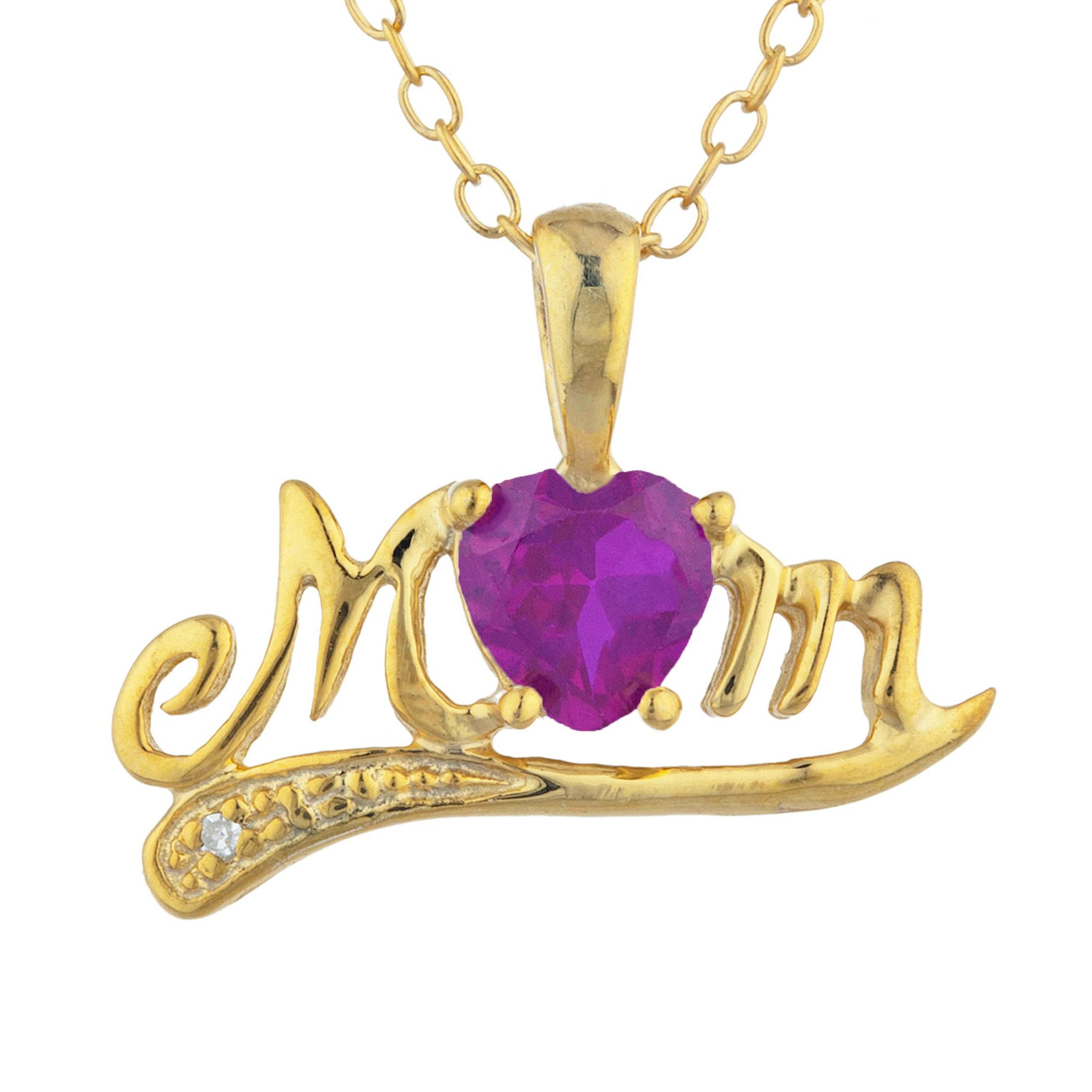 14Kt Yellow Gold Plated Created Ruby & Diamond Heart Mom Pendant