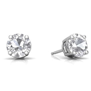 2 Ct White Sapphire Round Stud Earrings 14Kt White Gold