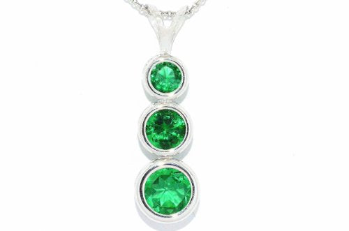 3 Created Emerald Round Bezel Pendant .925 Sterling Silver Rhodium Finish