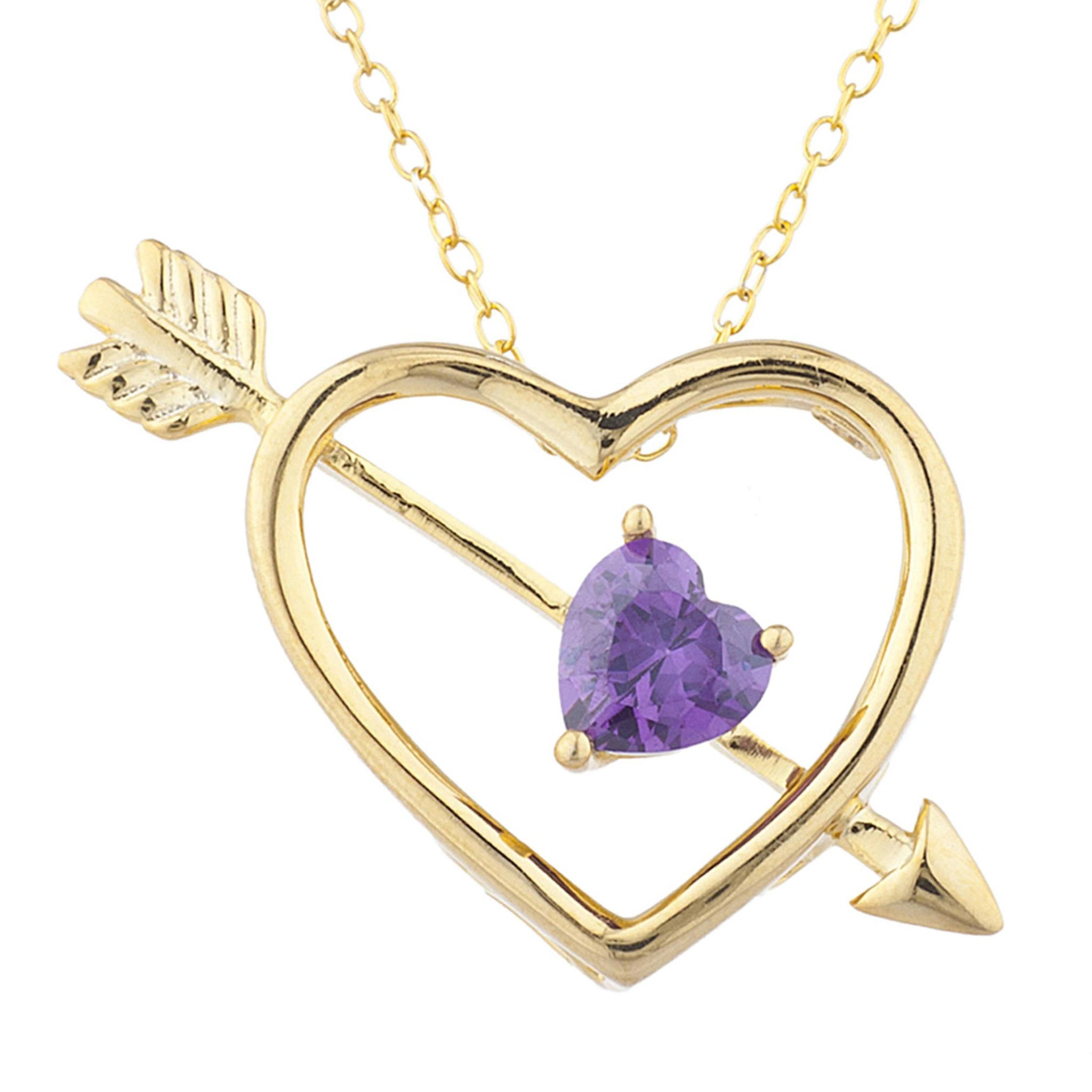 14Kt Yellow Gold Plated Amethyst Heart Bow & Arrow Pendant