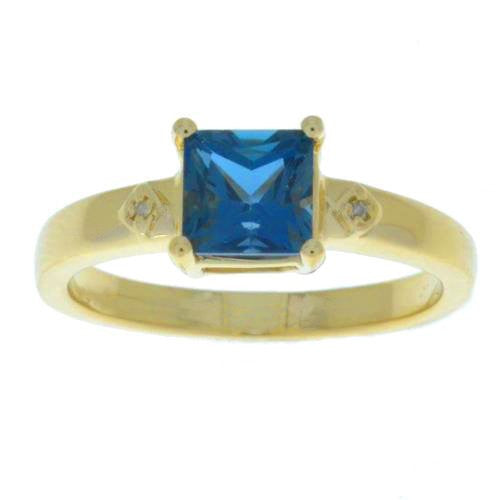 London Blue Topaz & Diamond Princess Cut Ring 14Kt Yellow Gold Plated Over .925 Sterling SIlver