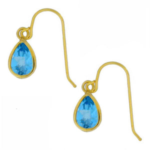 14Kt Yellow Gold Blue Topaz Pear Bezel Dangle Earrings