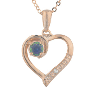 14Kt Rose Gold Plated Natural Mystic Topaz & Diamond Heart Pendant