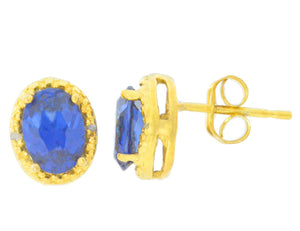2 Ct Blue Sapphire & Diamond Oval Stud Earrings 14Kt Yellow Gold Plated