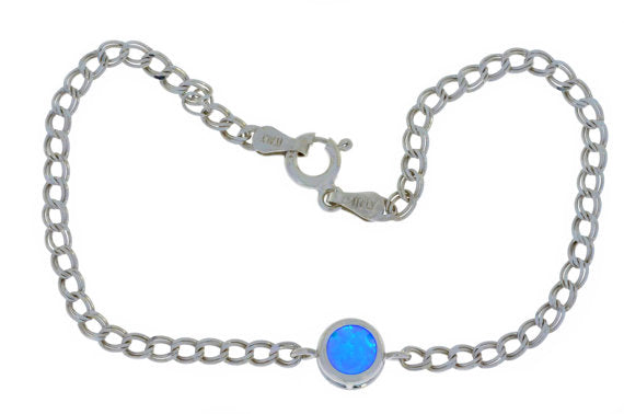 Blue Opal Round Bezel Bracelet .925 Sterling Silver Rhodium Finish
