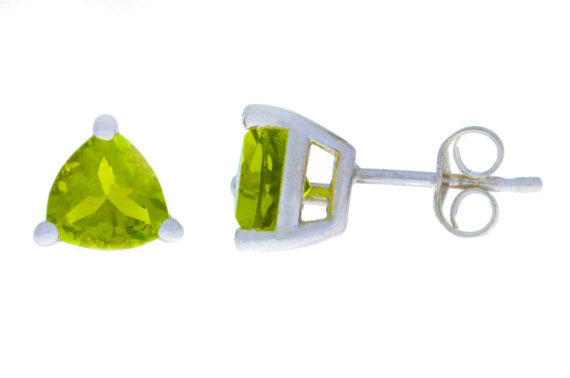 2 Ct Peridot Trillion Stud Earrings .925 Sterling Silver