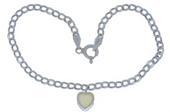 Natural Opal 6mm Heart Bezel Bracelet .925 Sterling Silver
