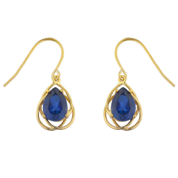 14Kt Yellow Gold Plated Blue Sapphire Pear Teardrop Design Dangle Earrings