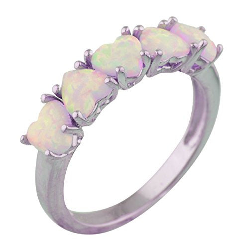 5 Hearts Pink Opal Heart Ring .925 Sterling Silver Rhodium Finish