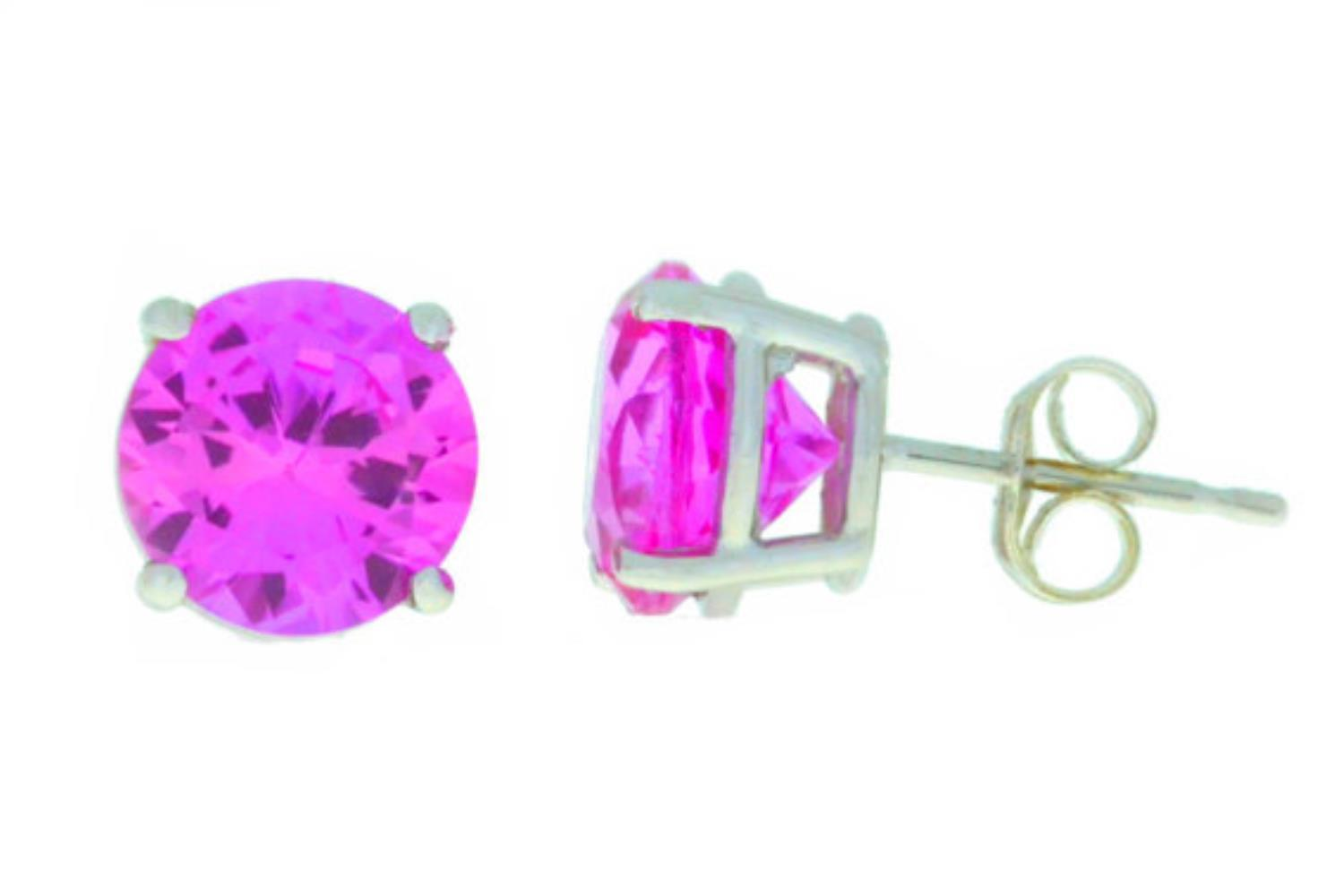 4 Ct Pink Sapphire Round Stud Earrings .925 Sterling Silver