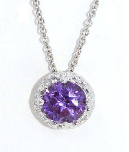 1 Ct Alexandrite Round Diamond Pendant .925 Sterling Silver Rhodium Finish