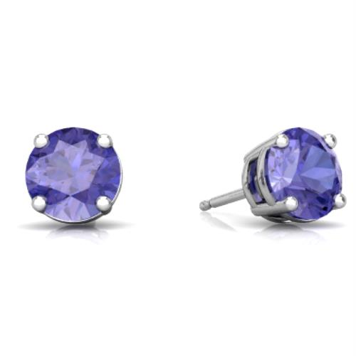 2 Ct Tanzanite Round Stud Earrings 14Kt White Gold