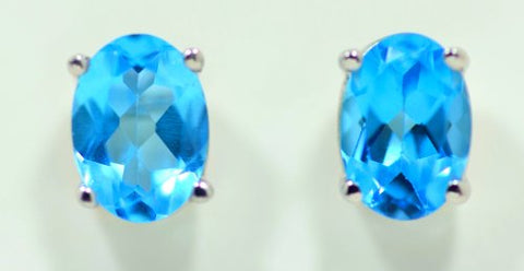 3 Carat Blue Topaz Stud Earrings .925 Sterling Silver