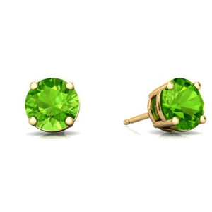 2 Ct Peridot Round Stud Earrings 14Kt Yellow Gold