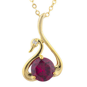 14Kt Yellow Gold Plated Created Ruby & Diamond Swan Pendant