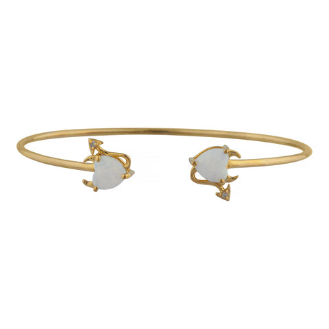 Genuine Opal & Diamond Devil Heart Bangle Bracelet 14Kt Yellow Gold Rose Gold Silver