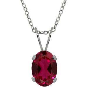 1.5 Ct Created Ruby Oval Pendant .925 Sterling Silver Rhodium Finish