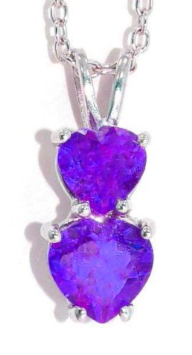 1.5 Ct Amethyst Double Heart Pendant .925 Sterling Silver Rhodium Finish