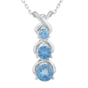 London Blue Topaz Round Past Present Future Pendant .925 Sterling Silver