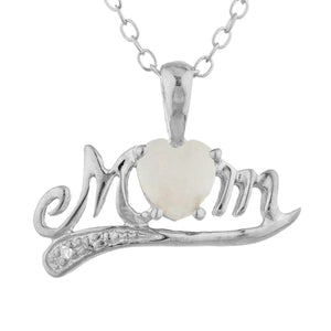 Genuine Opal & Diamond Heart Mom Pendant .925 Sterling Silver