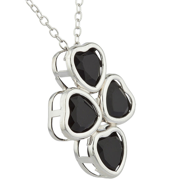 Genuine Black Onyx Heart Bezel Pendant .925 Sterling Silver
