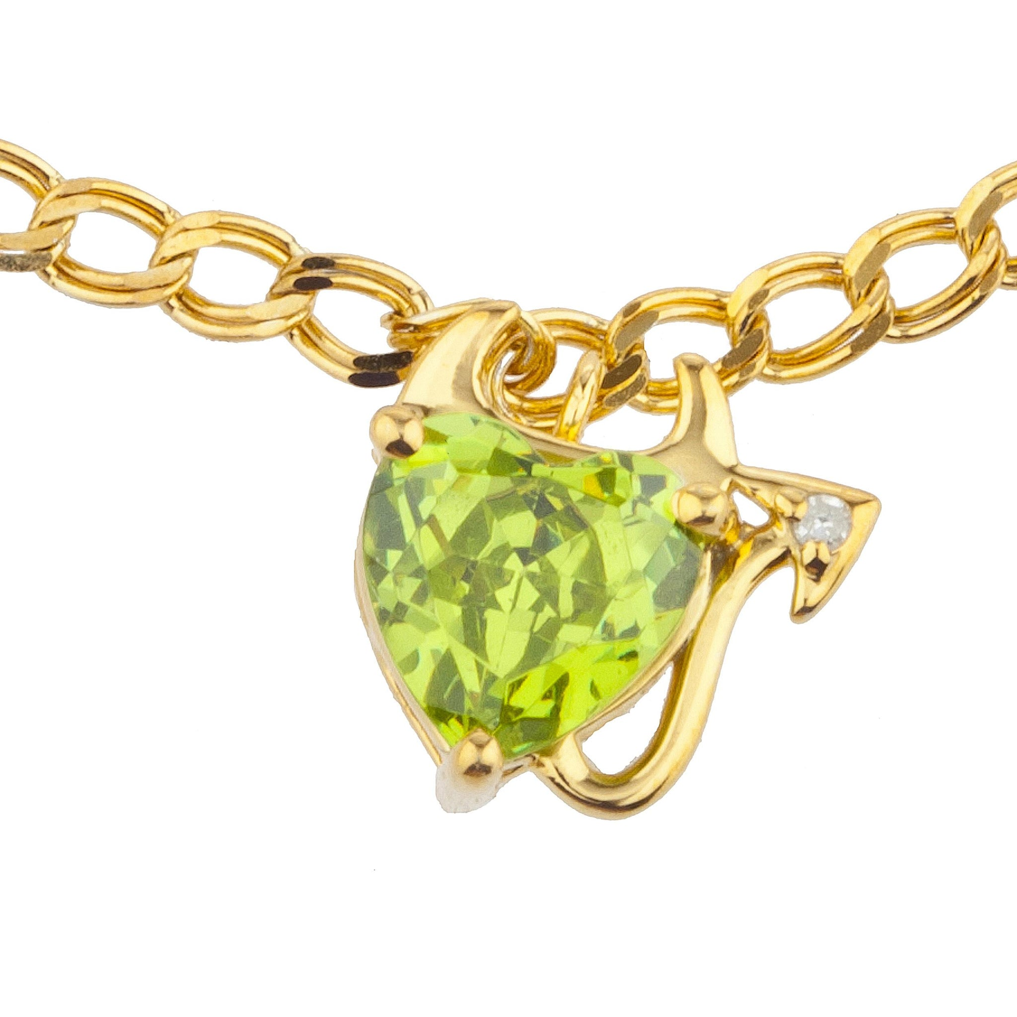14Kt Yellow Gold Plated Peridot & Diamond Devil Heart Bracelet