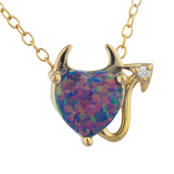 Black Opal & Diamond Devil Heart Pendant 14Kt Yellow Gold Silver