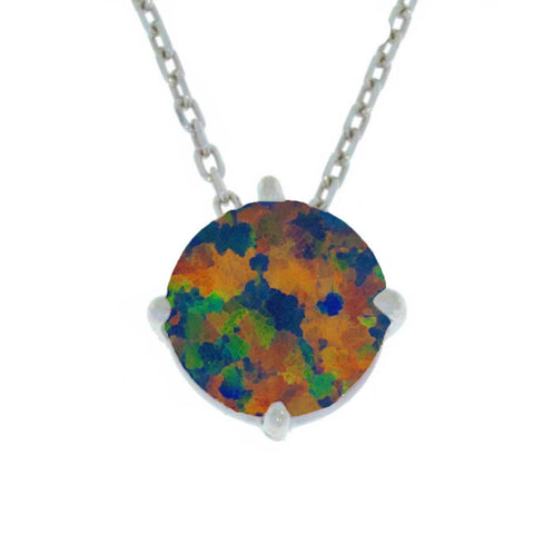 14Kt Gold Black Opal Round Pendant Necklace