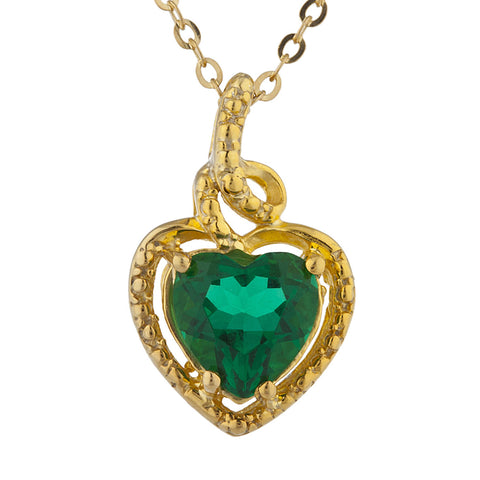 14Kt Gold Emerald Heart Design Pendant Necklace