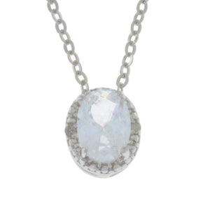 1 Ct Zirconia & Diamond Oval Pendant .925 Sterling Silver