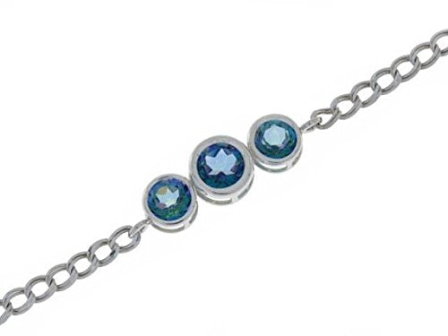 2 Ct Natural Blue Mystic Topaz Round Bezel Bracelet .925 Sterling Silver Rhodium Finish