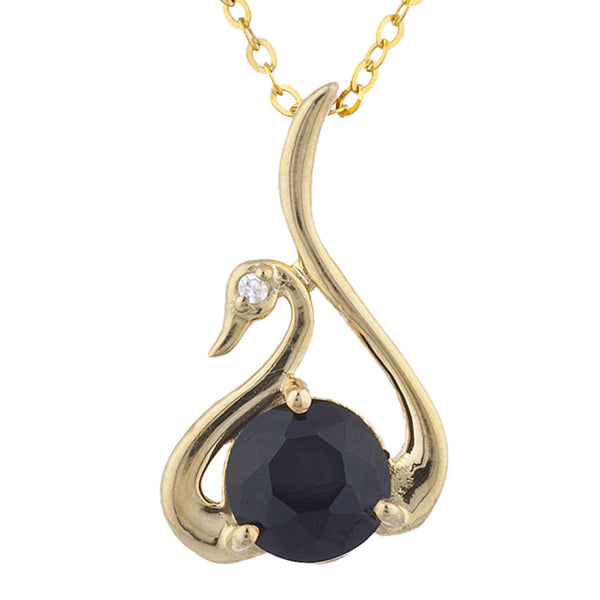 14Kt Yellow Gold Plated Genuine Black Onyx & Diamond Swan Pendant