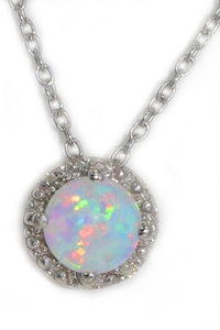 6mm Opal Round Diamond Pendant .925 Sterling Silver Rhodium Finish