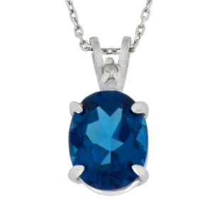 2.5 Ct London Blue Topaz & Diamond Oval Pendant .925 Sterling Silver Rhodium Finish