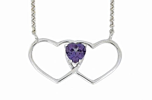 1 Ct Alexandrite Double Heart Pendant .925 Sterling Silver Rhodium Finish