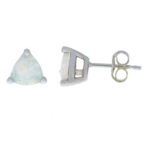 2 Ct Genuine Opal Trillion Stud Earrings .925 Sterling Silver