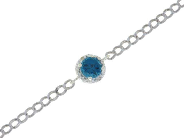 1 Ct London Blue Topaz & Diamond Round Bracelet .925 Sterling Silver